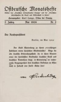 Ostdeutsche Monatshefte Nr. 2, Mai 1926, 7 Jahrgang