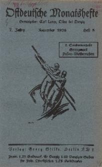Ostdeutsche Monatshefte Nr. 8, November 1926, 7 Jahrgang