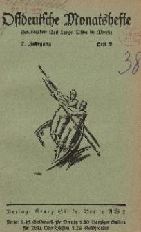 Ostdeutsche Monatshefte Nr. 9, 1926, 7 Jahrgang