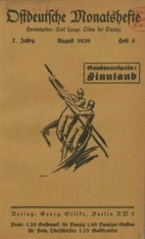 Ostdeutsche Monatshefte Nr. 5, August 1926, 7 Jahrgang