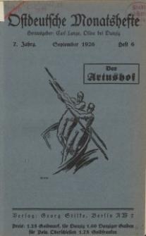 Ostdeutsche Monatshefte Nr. 6, September 1926, 7 Jahrgang
