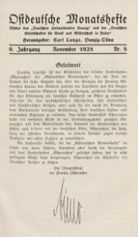 Ostdeutsche Monatshefte Nr. 8, November 1928, 9 Jahrgang