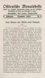 Ostdeutsche Monatshefte Nr. 9, Dezember 1928, 9 Jahrgang