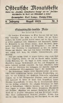 Ostdeutsche Monatshefte Nr. 5, August 1928, 9 Jahrgang