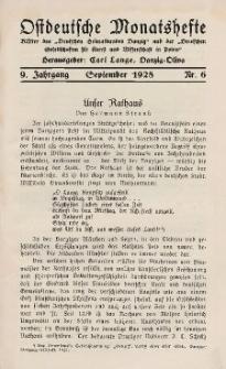 Ostdeutsche Monatshefte Nr. 6, September 1928, 9 Jahrgang