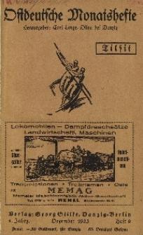 Ostdeutsche Monatshefte Nr. 9, Dezember 1923, 4 Jahrgang