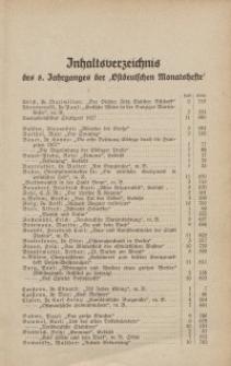 """Inhaltsverzeichnis des 8. Jahrganges der """"Ostdeutschen Monatshefte"""""""