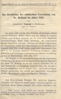 Zur Geschichte der städtischen Verwaltung von Pr. Holland im Jahre 1620