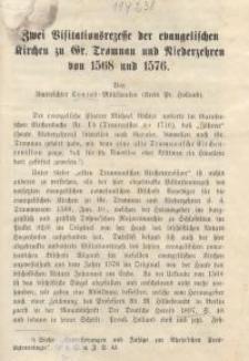 Zwei Visitationsrezesse der evangelischen Kirchen zu Gr. Tromnau und Niederzehren von 1568 und 1576