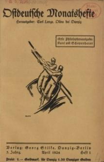 Ostdeutsche Monatshefte Nr. 1, April 1924, 5 Jahrgang