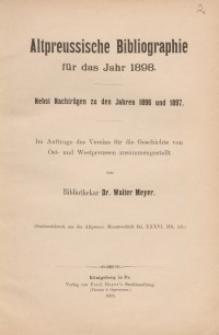 Altpreussische Bibliographie für das Jahr 1898