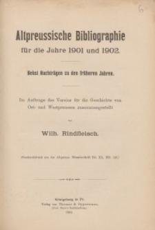 Altpreussische Bibliographie für die Jahre 1901 und 1902