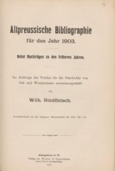 Altpreussische Bibliographie für das Jahr 1903