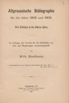 Altpreussische Bibliographie für die Jahre 1905 und 1906
