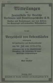 Verzeichnis von Lebensläufen vorwiegend des Handwerker- und Kaufmannstandes aus der Zeit von 1579-1742
