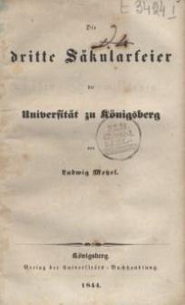 Die dritte Säkularfeier der Universität zu Königsberg