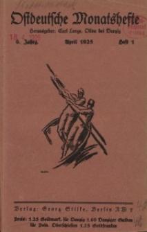 Ostdeutsche Monatshefte Nr. 1, April 1925, 6 Jahrgang