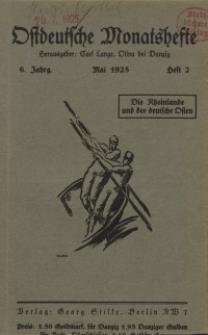 Ostdeutsche Monatshefte Nr. 2, Mai 1925, 6 Jahrgang