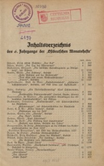 """Inhaltsverzeichnis des 6. Jahrgangs der """"Ostdeutschen Monatshefte"""""""