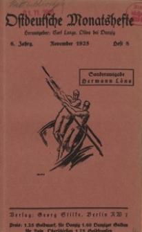 Ostdeutsche Monatshefte Nr. 8, November 1925, 6 Jahrgang