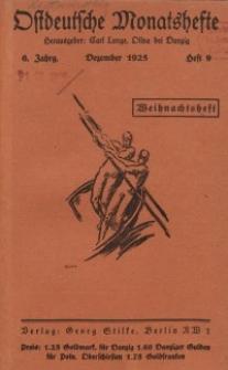 Ostdeutsche Monatshefte Nr. 9, Dezember 1925, 6 Jahrgang