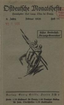 Ostdeutsche Monatshefte Nr. 11, Februar 1926, 6 Jahrgang