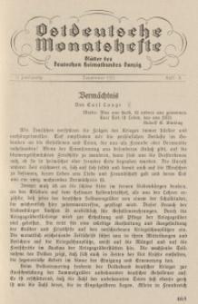 Ostdeutsche Monatshefte Nr. 8, November 1931, 12 Jahrgang