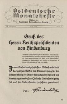 Ostdeutsche Monatshefte Nr. 2, Mai 1933, 14 Jahrgang