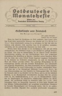 Ostdeutsche Monatshefte Nr. 7, Oktober 1933, 14 Jahrgang