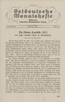 Ostdeutsche Monatshefte Nr. 11, Februar 1934, 14 Jahrgang