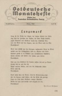 Ostdeutsche Monatshefte Nr. 12, März 1934, 14 Jahrgang