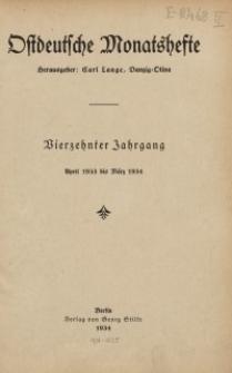 """Inhaltsverzeichnis des 14. Jahrgangs der """"Ostdeutschen Monatshefte""""(April 1933 bis März 1934)"""