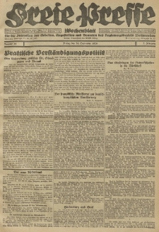 Freie Presse, Nr. 38 Freitag 24. September 1926 2. Jahrgang