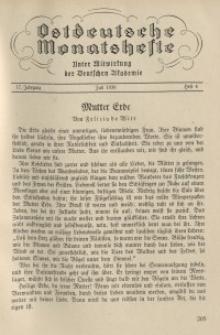 Ostdeutsche Monatshefte Nr. 4, Juli 1936, 17 Jahrgang