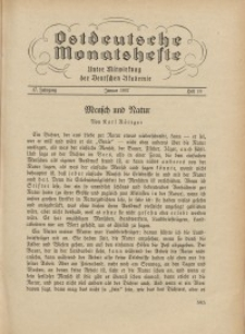 Ostdeutsche Monatshefte Nr. 10, Januar 1937, 17 Jahrgang