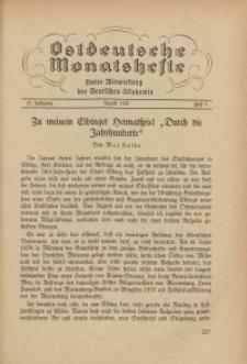 Ostdeutsche Monatshefte Nr. 5, August 1937, 18 Jahrgang