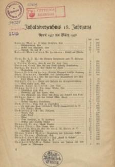 """Inhaltsverzeichnis 18. Jahrgang der """"Ostdeutschen Monatshefte""""(April 1937 bis März 1938)"""