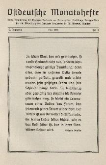 Ostdeutsche Monatshefte Nr. 2, Mai 1938, 19 Jahrgang