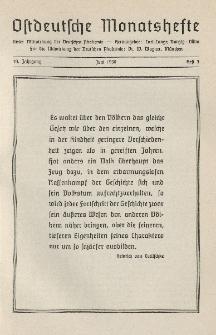 Ostdeutsche Monatshefte Nr. 3, Juni 1938, 19 Jahrgang