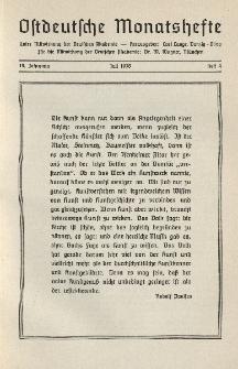 Ostdeutsche Monatshefte Nr. 4, Juli 1938, 19 Jahrgang