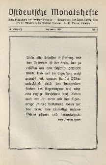 Ostdeutsche Monatshefte Nr. 6, September 1938, 19 Jahrgang