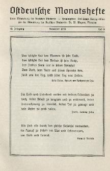 Ostdeutsche Monatshefte Nr. 8, November 1938, 19 Jahrgang