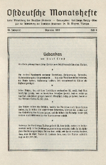 Ostdeutsche Monatshefte Nr. 9, Dezember 1938, 19 Jahrgang
