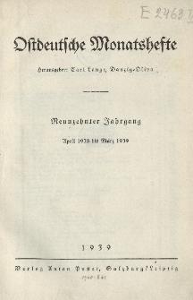 """Inhaltsverzeichnis des 19. Jahrgangs der """"Ostdeutschen Monatshefte""""(April 1938 bis März 1939)"""