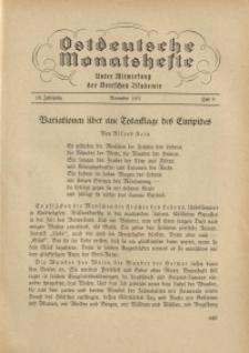 Ostdeutsche Monatshefte Nr. 8, November 1937, 18 Jahrgang