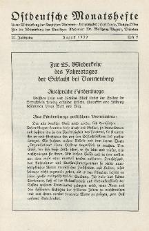Ostdeutsche Monatshefte Nr. 5, August 1939, 20 Jahrgang