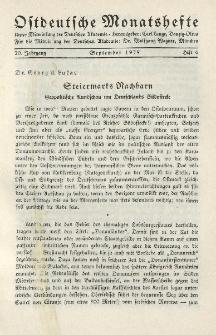 Ostdeutsche Monatshefte Nr. 6, September 1939, 20 Jahrgang