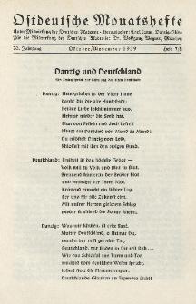 Ostdeutsche Monatshefte Nr. 7/8, Oktober/November 1939, 20 Jahrgang