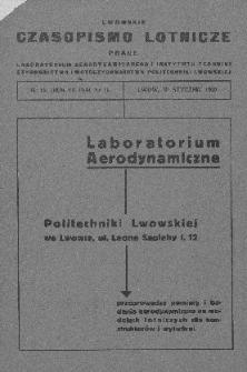 Lwowskie Czasopismo Lotnicze, R. VII, nr 15 (nr 1), styczeń 1939