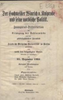 Der Hochmeister Winrich v. Kniprode und seine nordische Politik